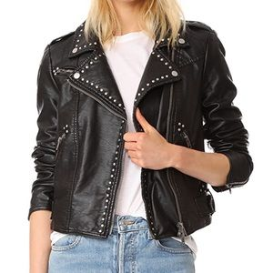 Free People Studded Faux Leather Moto Jacket